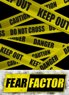 Yellow danger tape and Fear Factor Logo