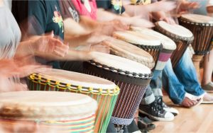 Group drumming session