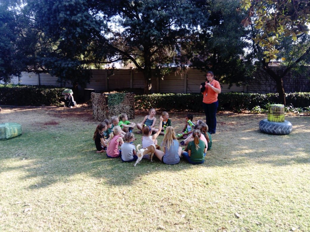 Kids listeneing to Laser Tag Party Briefing